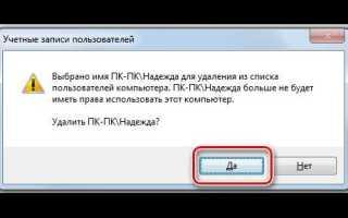 Как сделать удаление учетной записи пользователя или администратора в Windows 7