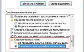 Как можно открыть скрытые папки в Windows 7