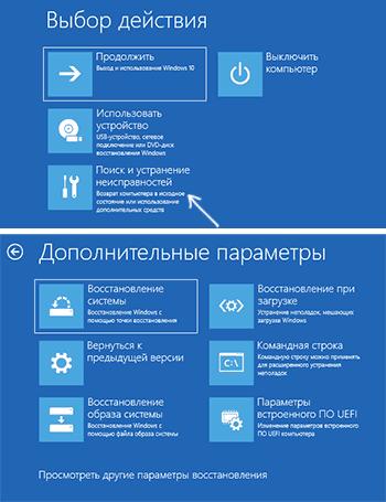 Меню среды восстановления Windows 10