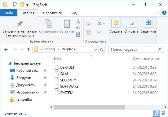 Папка Regback в Windows 10