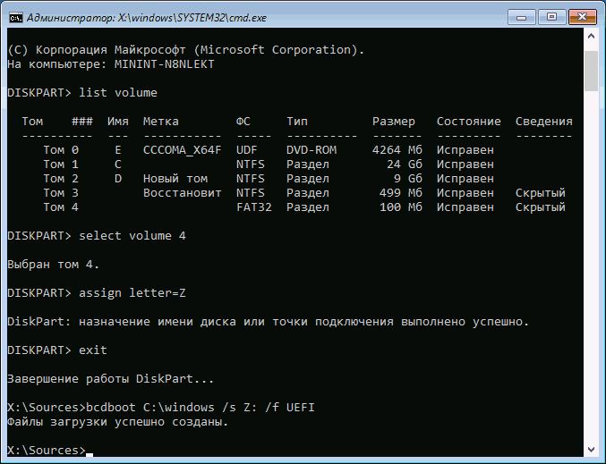 Исправление ошибки 0xc0000225 winload.efi