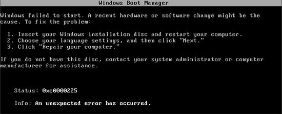 Ошибка 0xc0000225 в Windows 7