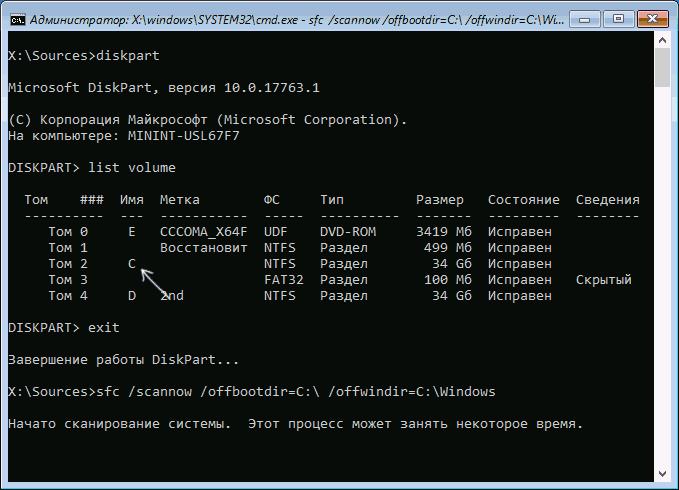 Оффлайн-сканирование sfc /scannow
