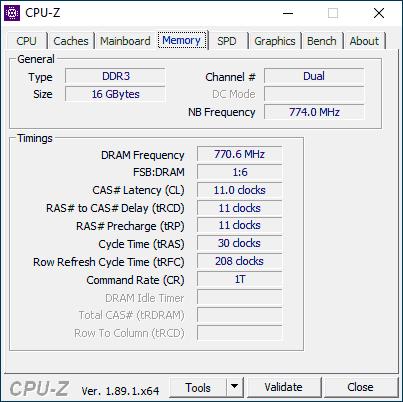 Вкладка Memory в CPU-Z