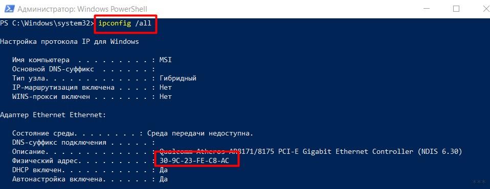 ipconfig в PowerShell