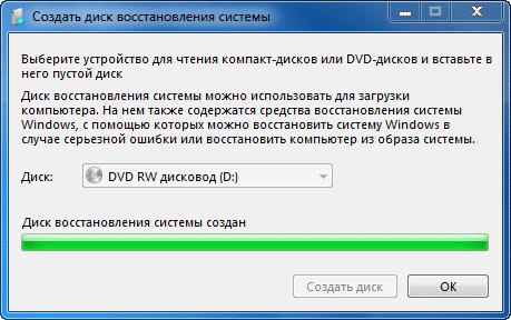 диск восстановления создан